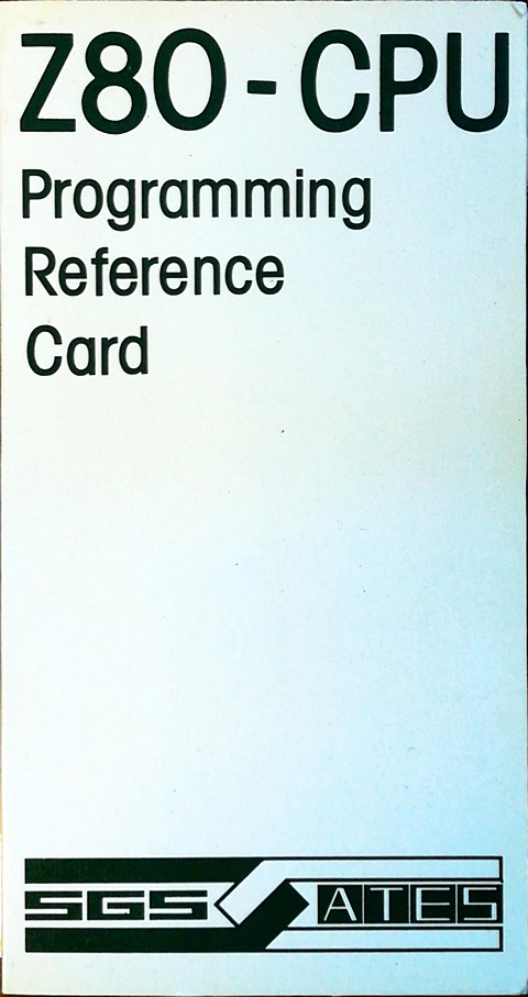 z80 cpu programming reference card